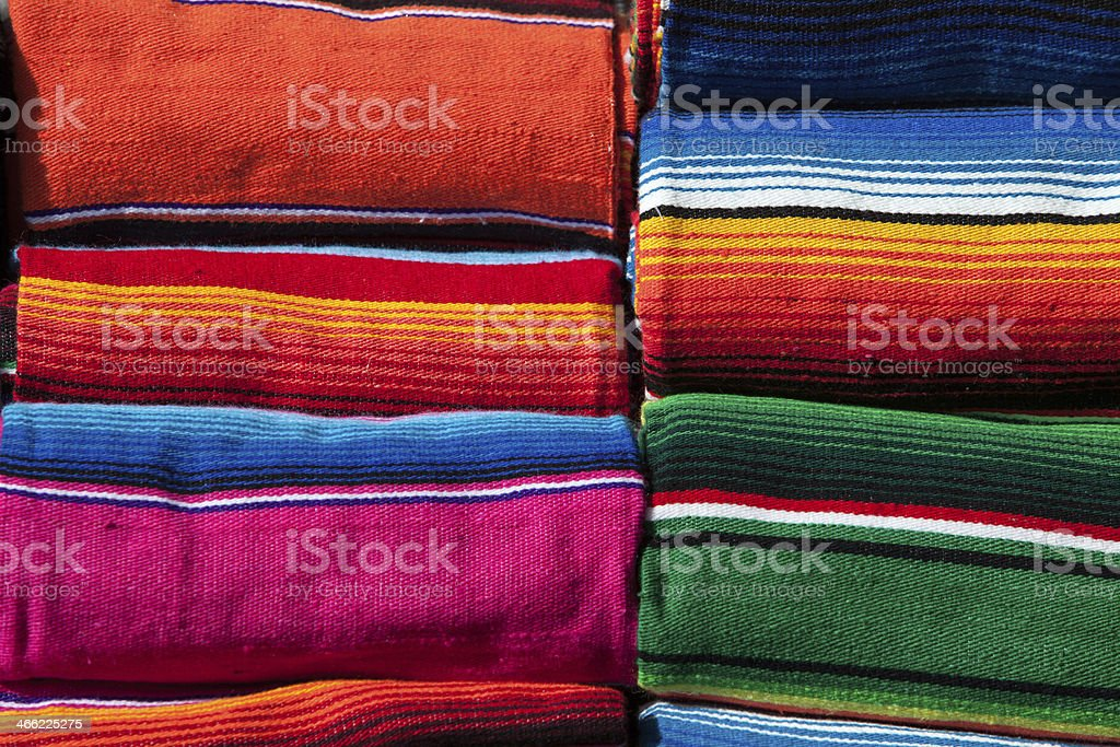 Colorful Mexican blankets stock photo