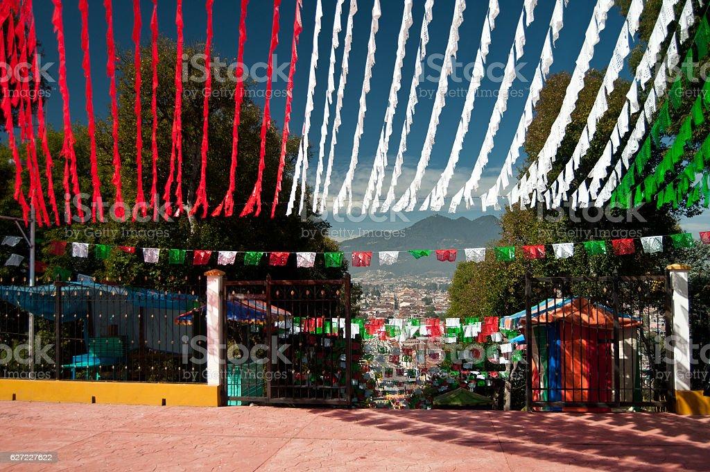 Colorful Mexican Flags in San Cristobal de las Casas stock photo