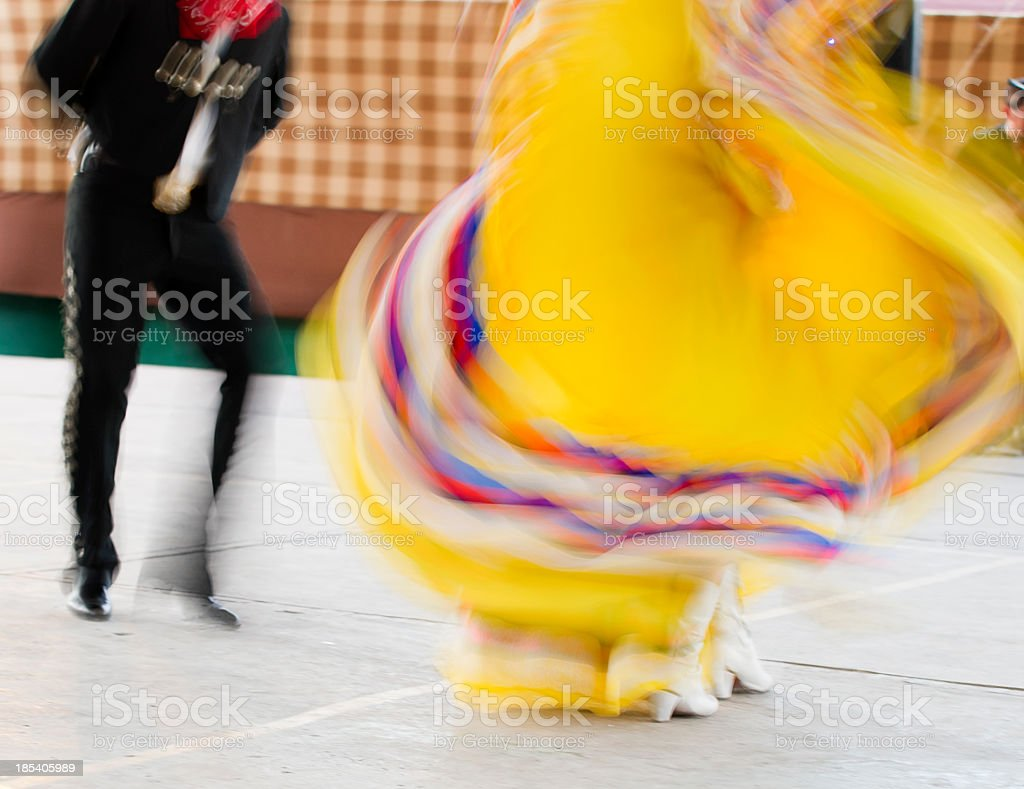 Colorful Mexican folklore dancers in motion stock photo