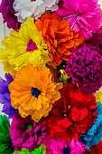 Colorful Mexican Paper Flowers Handicrafts White Pink Yellow  Orange Red Mexican Market Square San Antonio Texas