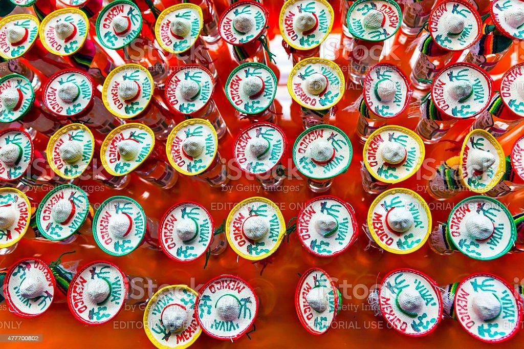 Colorful Mexican Souvenir Hats Shot Glasses Mexico City Mexico stock photo