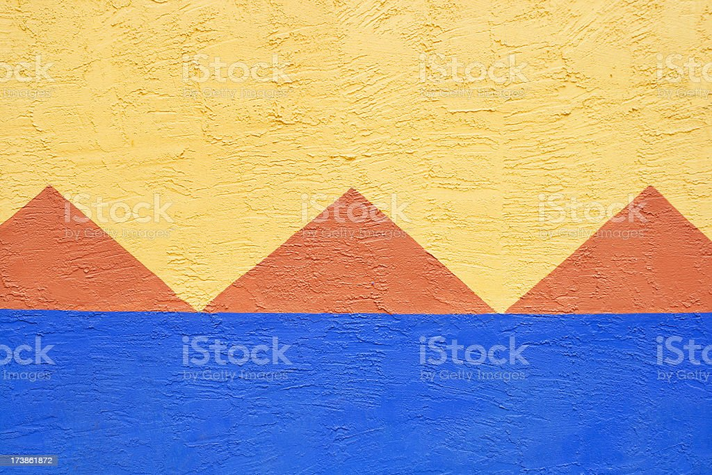 Colorful Mexican Spanish Stucco Triangles Geometric Background royalty-free stock photo