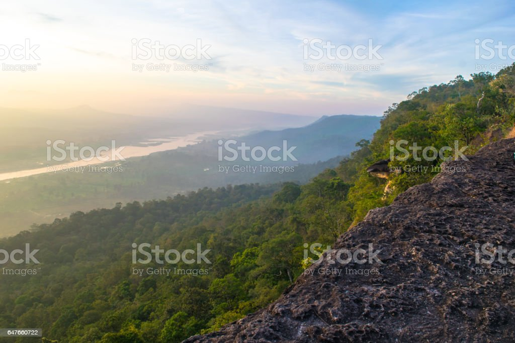 Colorful misty morning in rocks stock photo