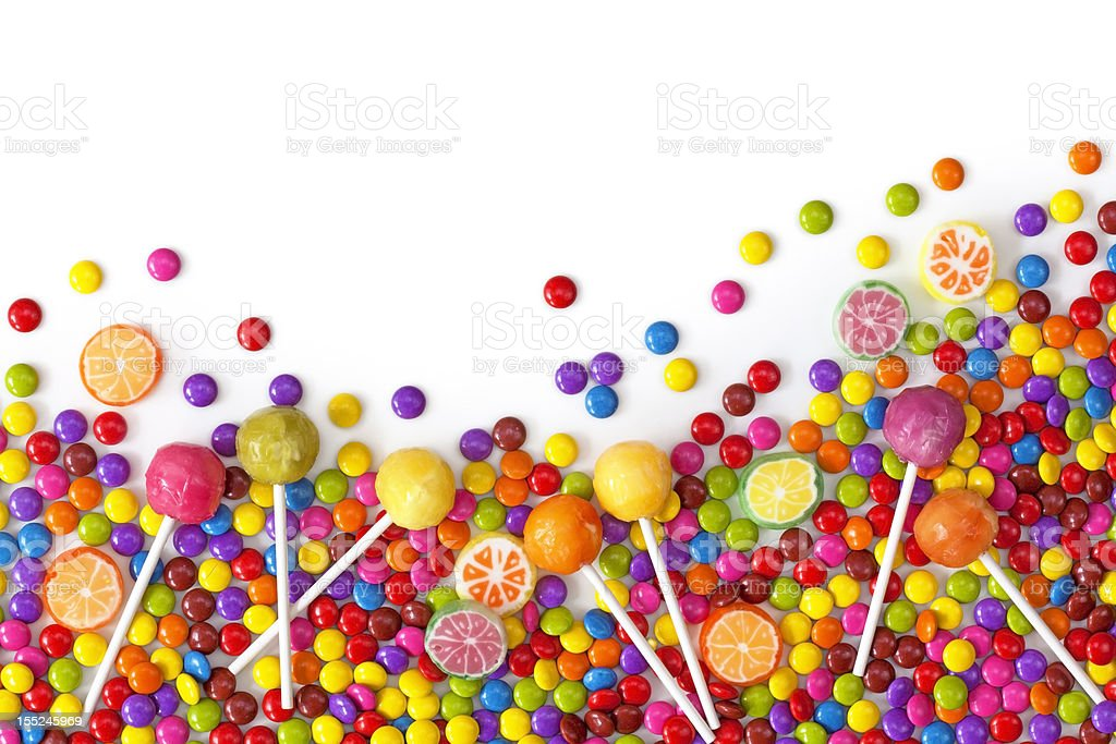 Colorful mixture of candy, lollipops and other sweets stock photo