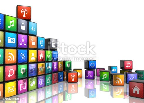 istock Colorful mobile application related icons concept 178379308