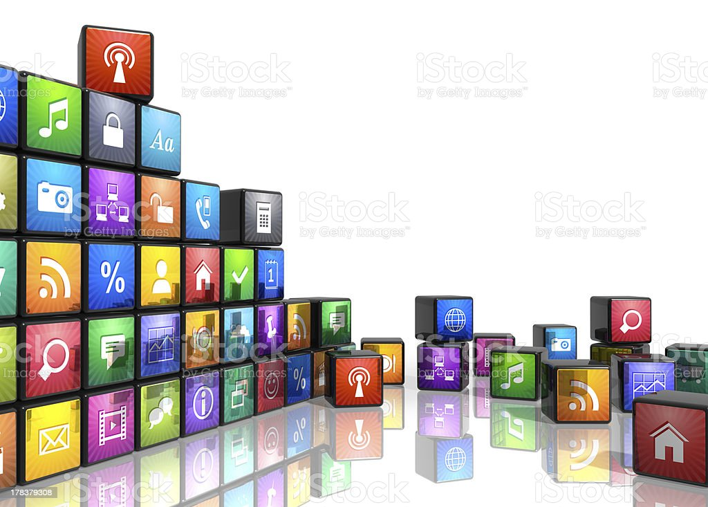 Colorful mobile application related icons concept stock photo