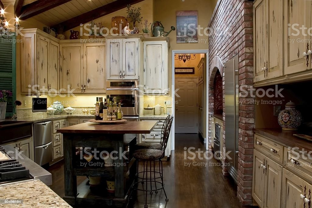 A colorful modern French kitchen fully furnished  royalty-free stock photo