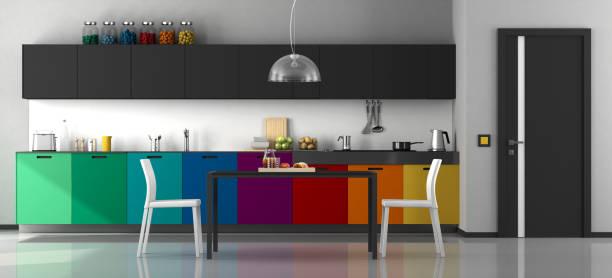 farbenfrohe moderne küche - roten küchentische stock-fotos und bilder