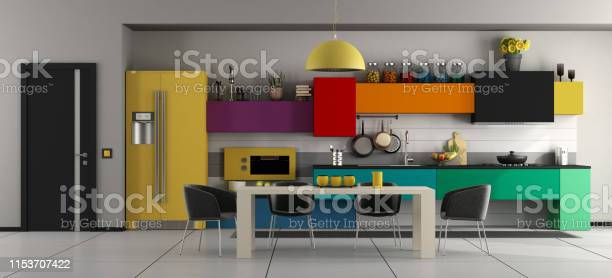 Colorful modern kitchen with table and chairs picture id1153707422?b=1&k=6&m=1153707422&s=612x612&h=gdyzxbx 650m2ypf5lwqt7su8rzs wp9pylayerapjq=