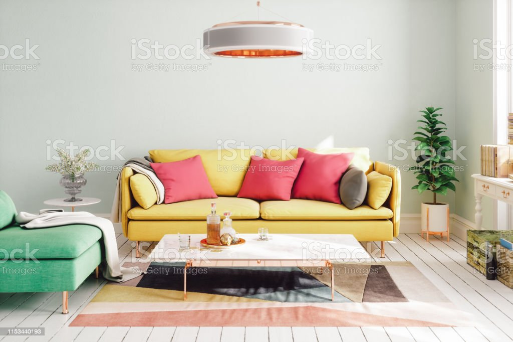 Colorful Modern Living Room Design Stock Photo - Download ...