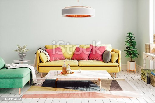 Interior of a modern living room designed with vibrant colors.