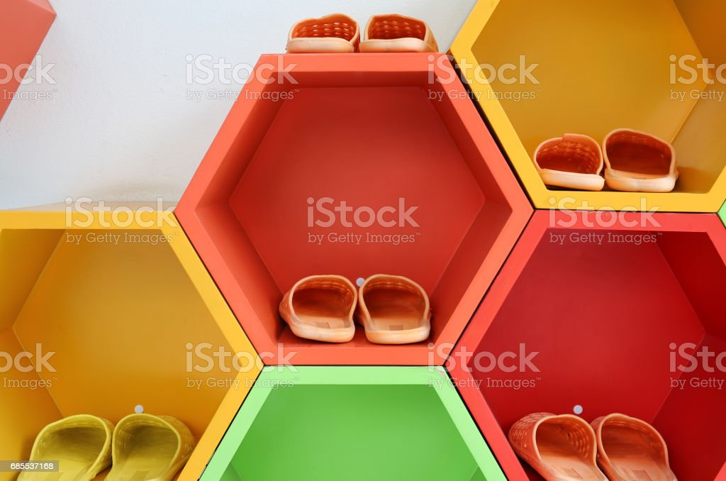 Colorful Modern Shoe Rack On The White Wall Stock Photo Download Image Now Istock