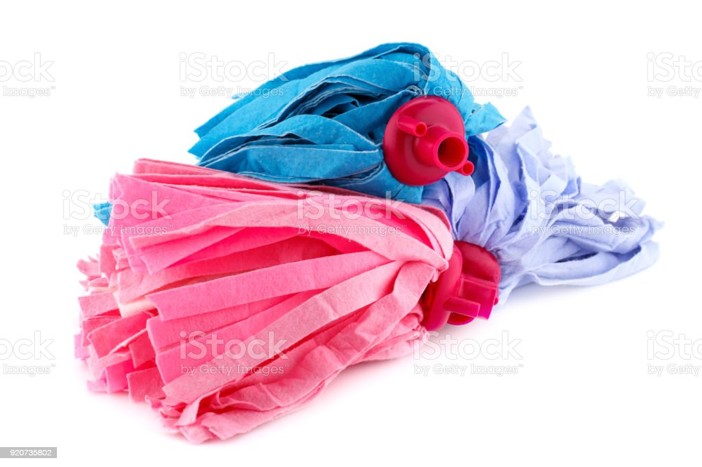 Colorful mops stock photo