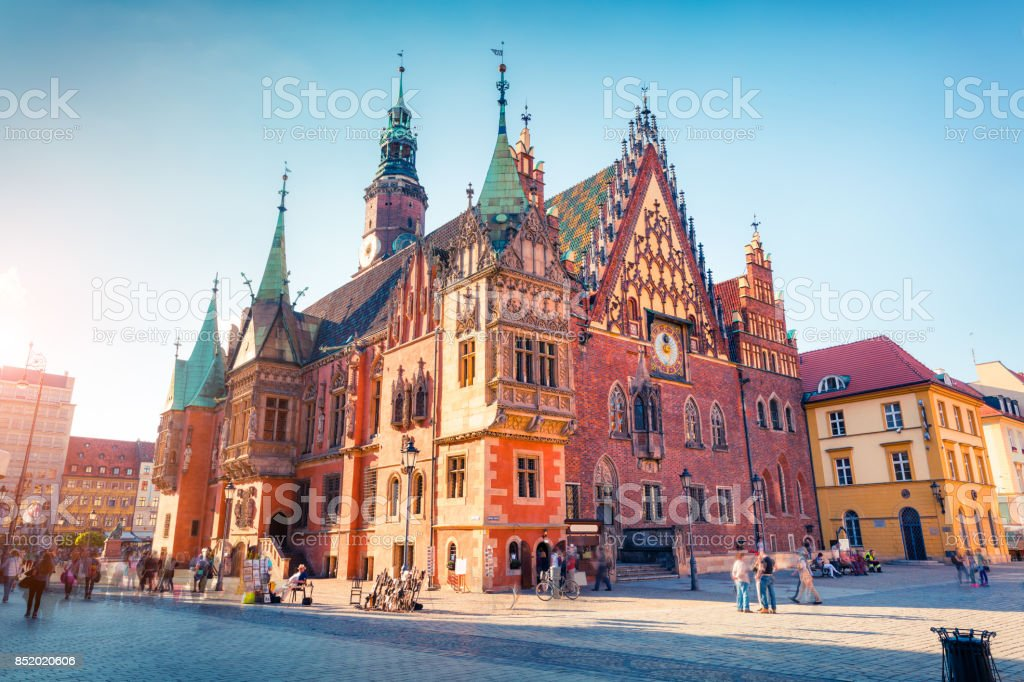 Colorful morning scene on Wroclaw Market Square with Town Hall. stock photo