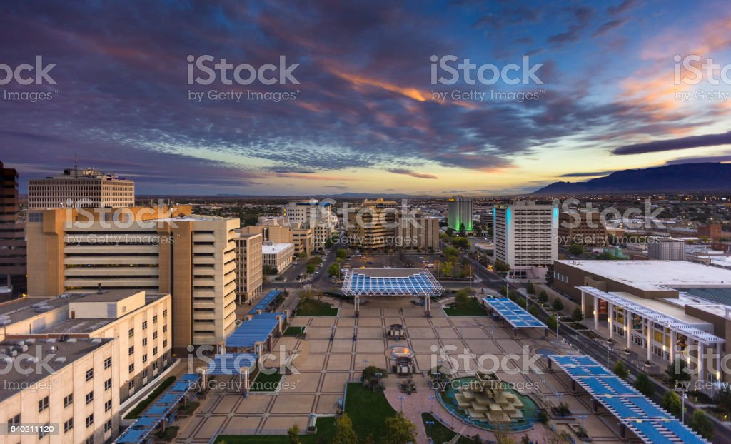 Colorful Morning Sky Over Civic Plaza, Albuquerque royalty-free stock photo