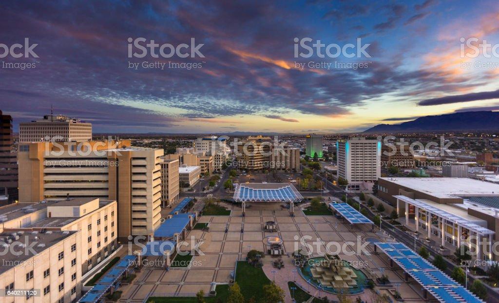 Colorful Morning Sky Over Civic Plaza, Albuquerque stock photo