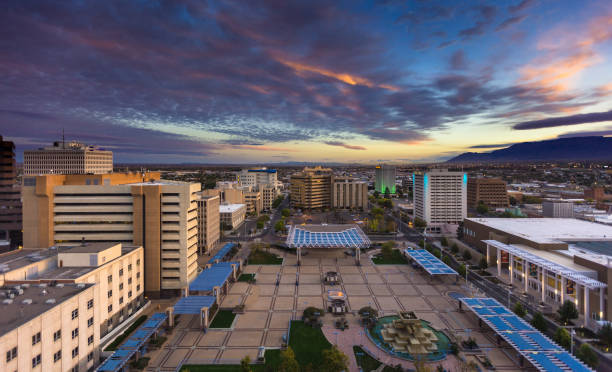Colorful Morning Sky Over Civic Plaza, Albuquerque stock photo