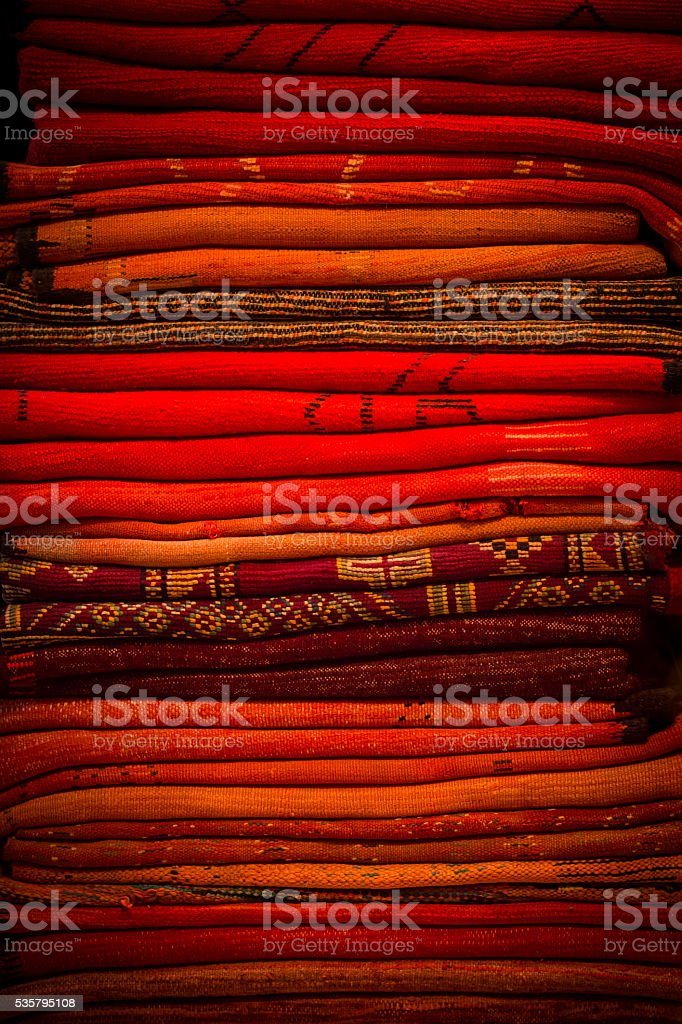 colorful Moroccan carpets stock photo