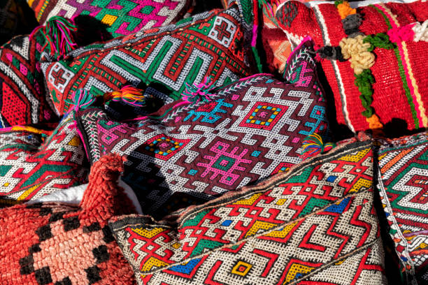Colorful Moroccan cushions with traditional Berber design. stock photo