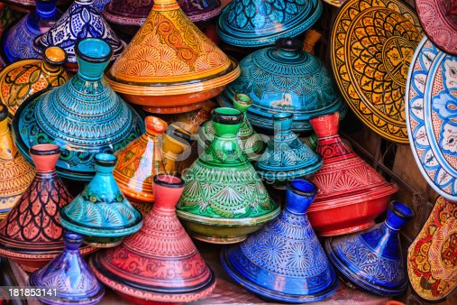 istock Colorful Moroccan tajine pots at a souk in Marrakech 181853141
