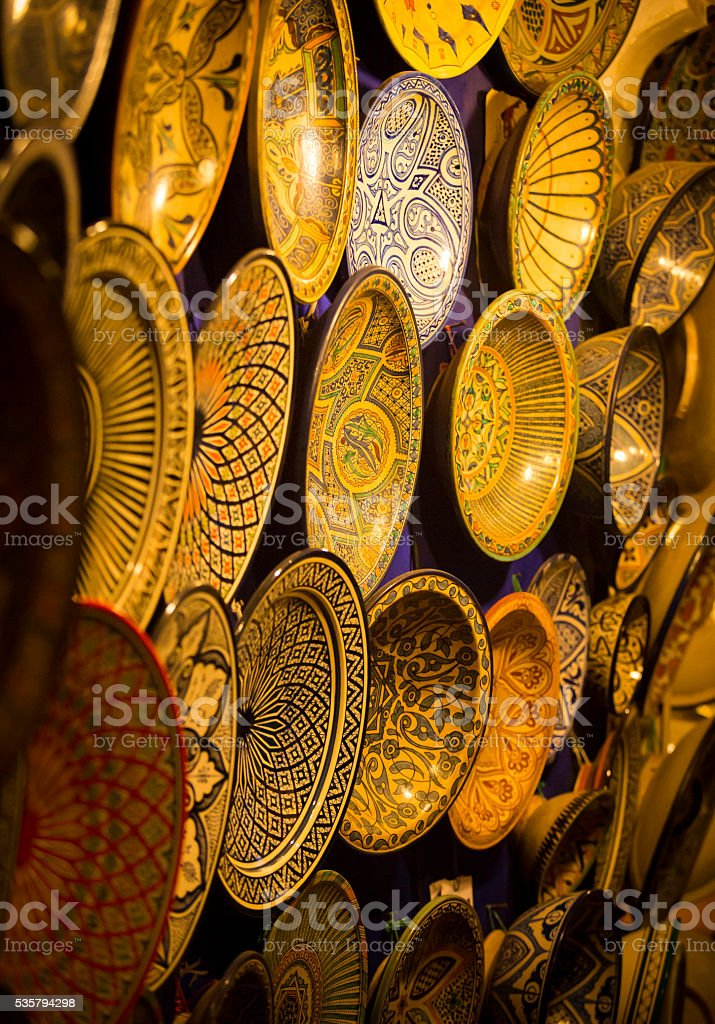 colorful Morrocan clay plates stock photo
