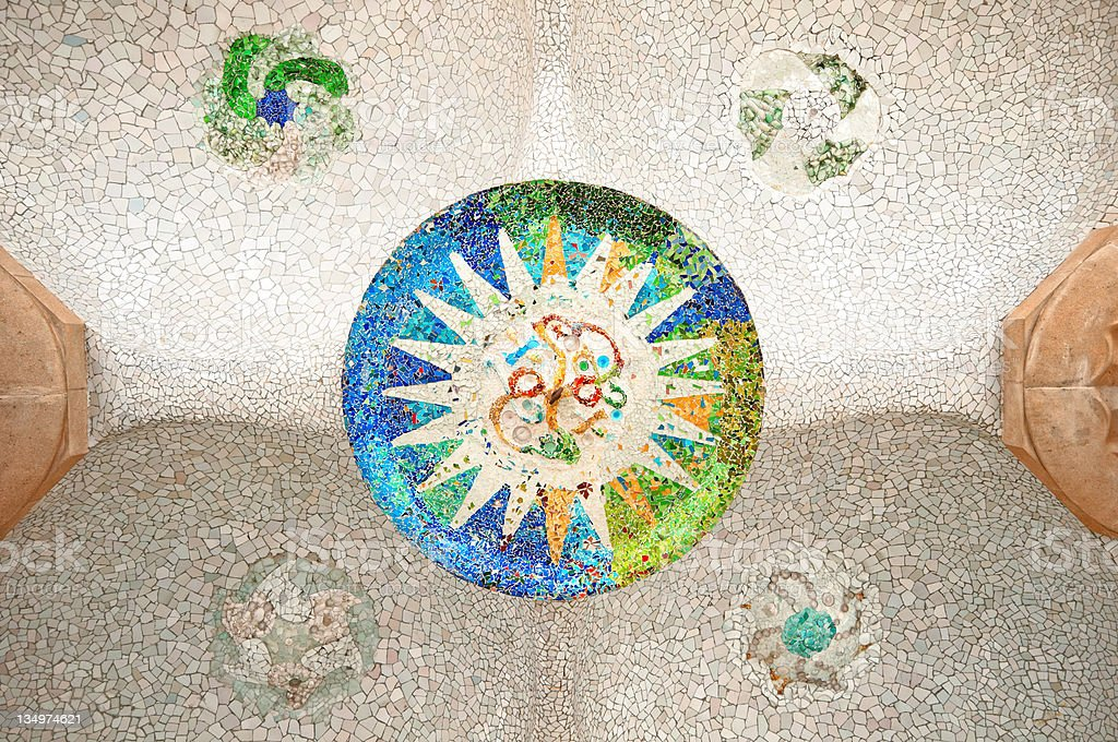 Colorful mosaic at Parc Guell, Barcelona - Spain stock photo
