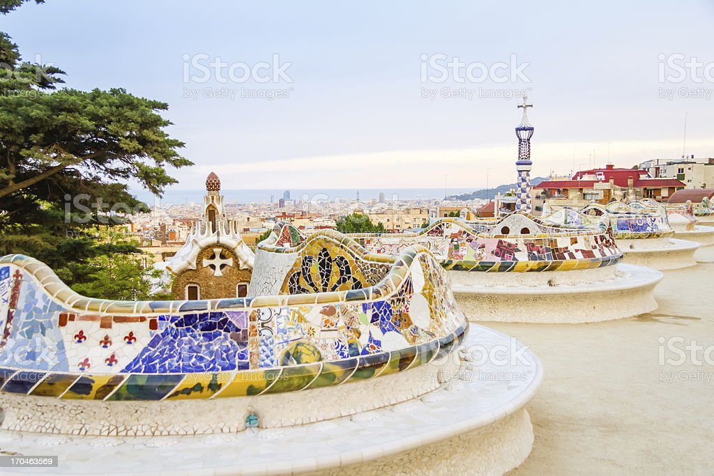 Colorful mosaic benches at the Gaudi-designed Park Guell stock photo