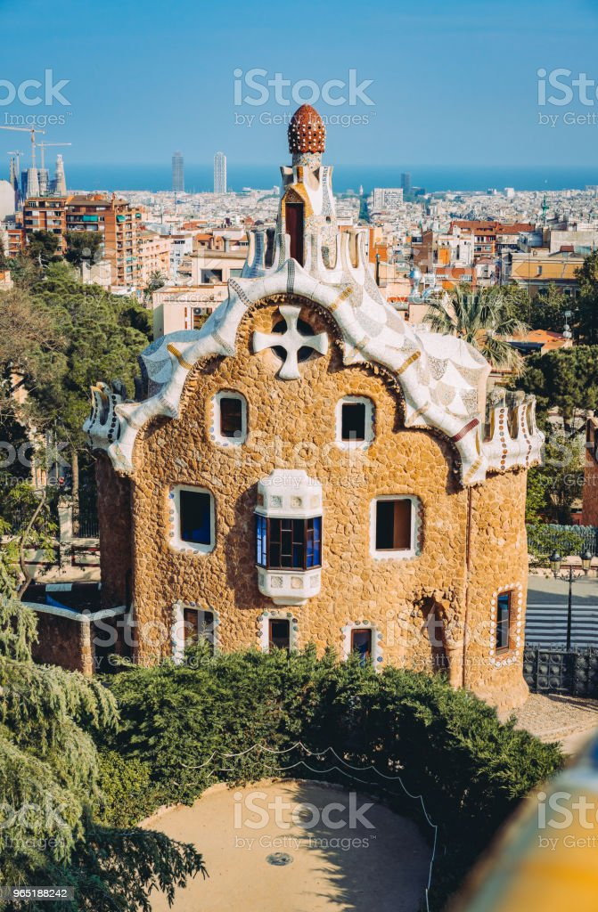 A colorful mosaic building in Park Guell in evening warm Sun light, Barcelona City, Spain zbiór zdjęć royalty-free