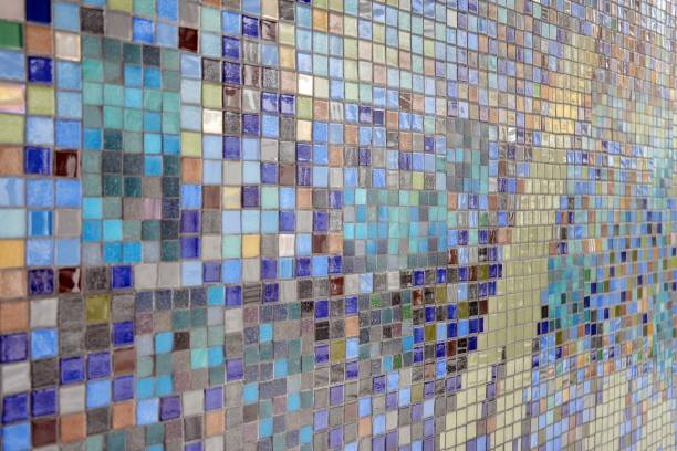 Colorful mosaic glass tile wall. stock photo