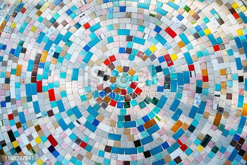 Colorful mosaic made of little ceramic tiles
