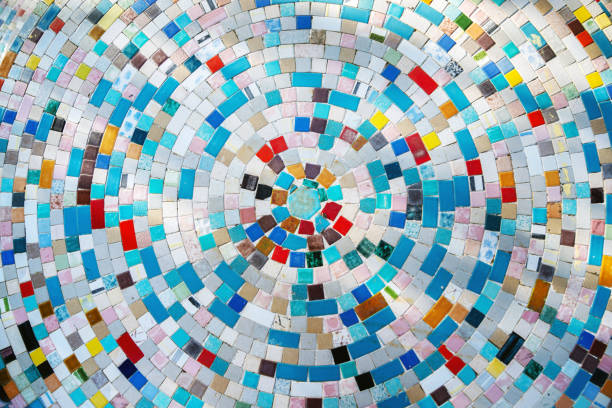 Colorful mosaic made of little ceramic tiles stock photo