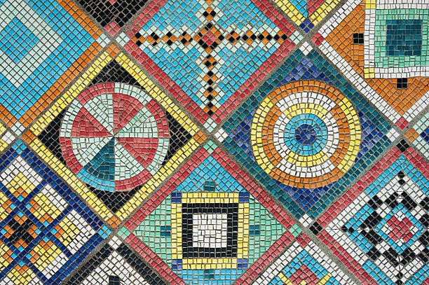 bunte mosaik - kariertes hintergrundsbild stock-fotos und bilder