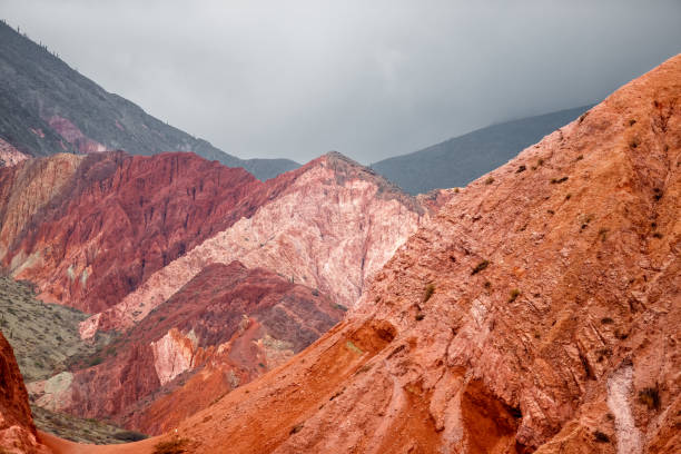 Colorful mountain range in Purmamarca, Jujuy, Argentina stock photo