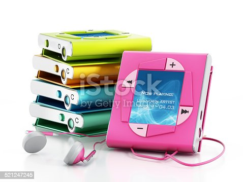 Colorful generic mp3 players stack isolated on white. Generic interface design.