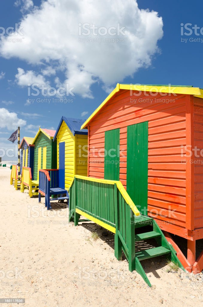 Colorful Muizenberg huts in Cape Town royalty-free stock photo