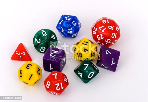 multi sided role game dice isolated on white background