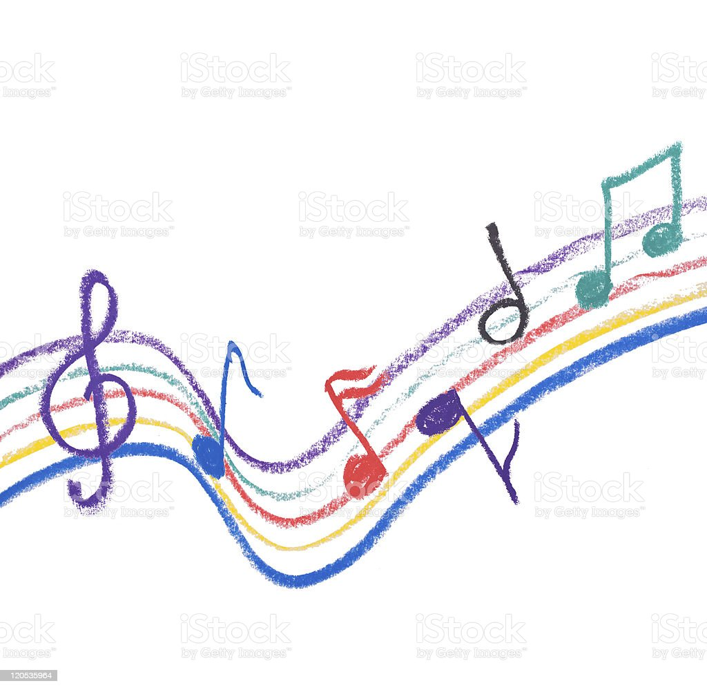 Colorful music notation drawing on white royalty-free stock photo