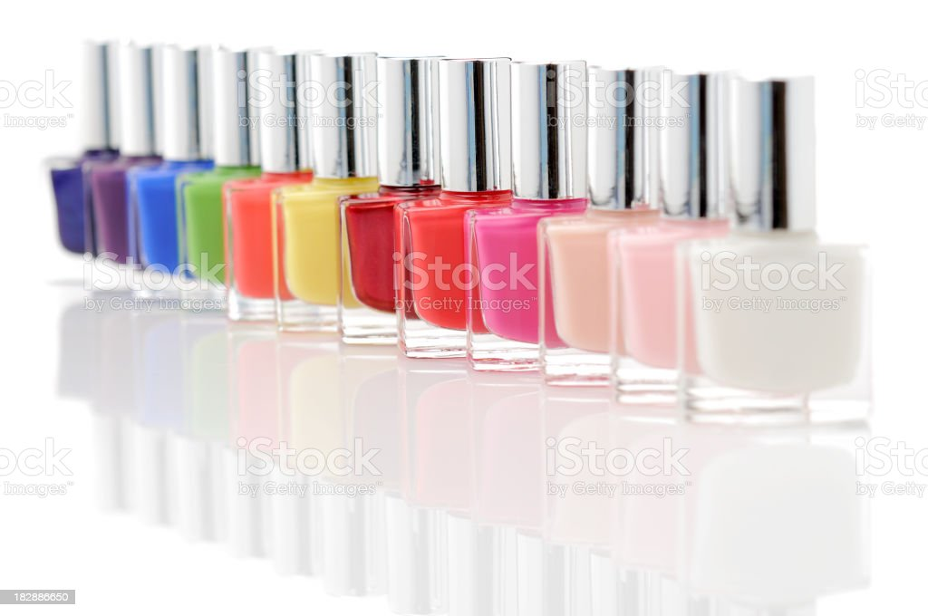Colorful nail polish bottles royalty-free stock photo