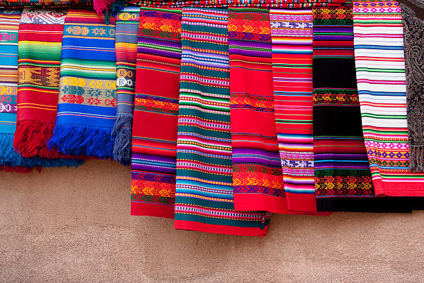 Colorful Native American Indian blankets stock photo