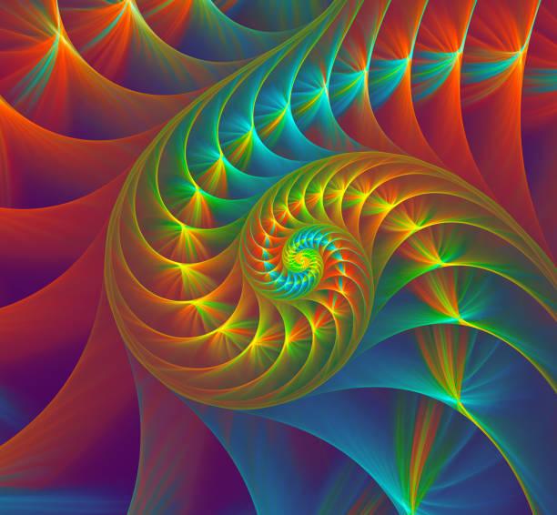 bunte nautilus muschel. abstrakte fraktal goldenen spirale. fibonacci-hintergrund - bemalte muscheln stock-fotos und bilder