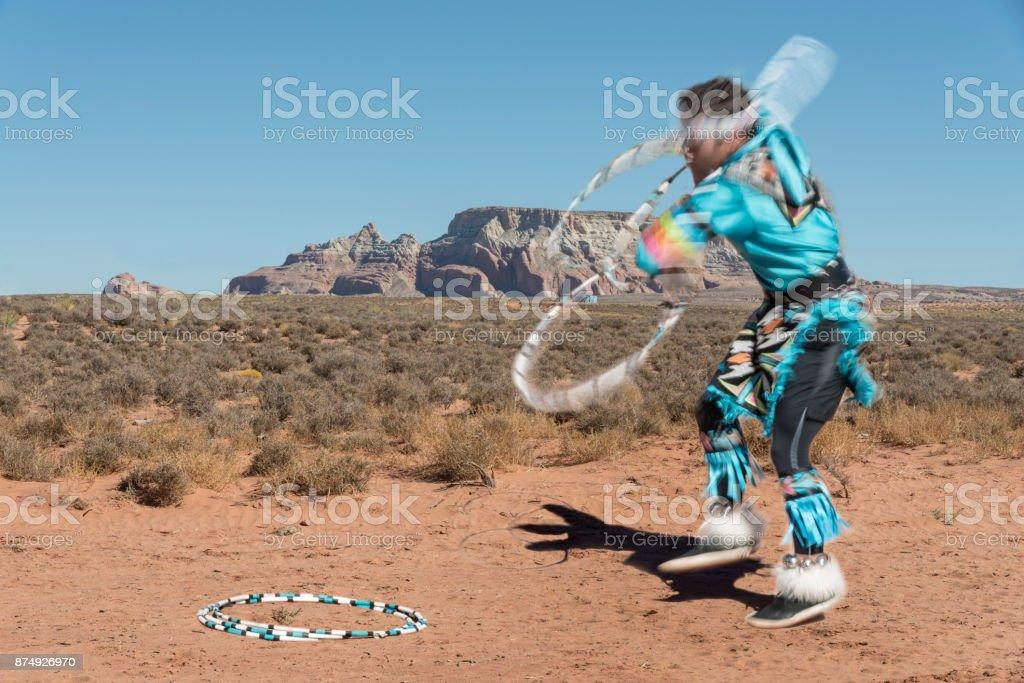 Colorful Navajo native dancer stock photo