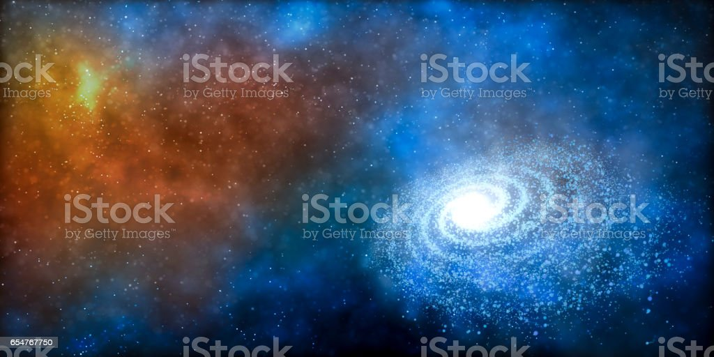 Colorful nebula and spiral galaxy in the universe. Space background. stock photo