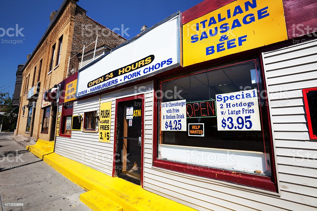 Colorful neighborhood fast food business in Jefferson Park, Chic royalty-free stock photo