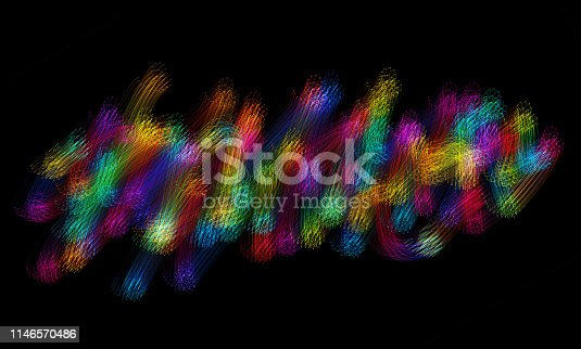 Neon Colorful Grid Chaos Pattern Black Background Multi Colored Design Template for presentation, flyer, business card, poster, brochure, banner Copy space, Isolated Computer Graphic