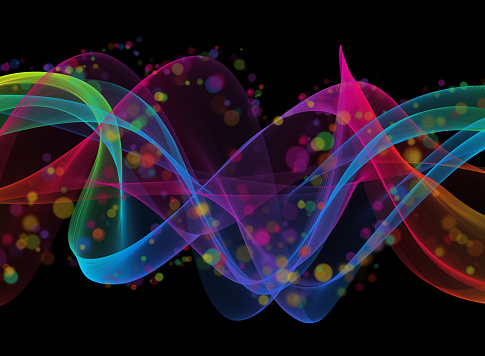 Colorful Neon Ribbon Wave Spiral Swirl Bubble Pattern Abstract Futuristic Circle Particle Dust Flying Wind Transparent Black Background Copy Space Cooperation Ideas Chaos Psychedelic Concept Lightweight Technology Bright Digitally Generated Image for banner, flyer, card, poster, brochure, presentation