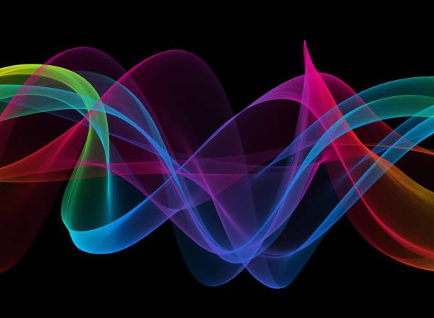 colorido neón cinta onda espiral girando vela de seda curva de viento negro fondo caos abstracto psicodélico ondulación textura - hélice forma geométrica fotografías e imágenes de stock