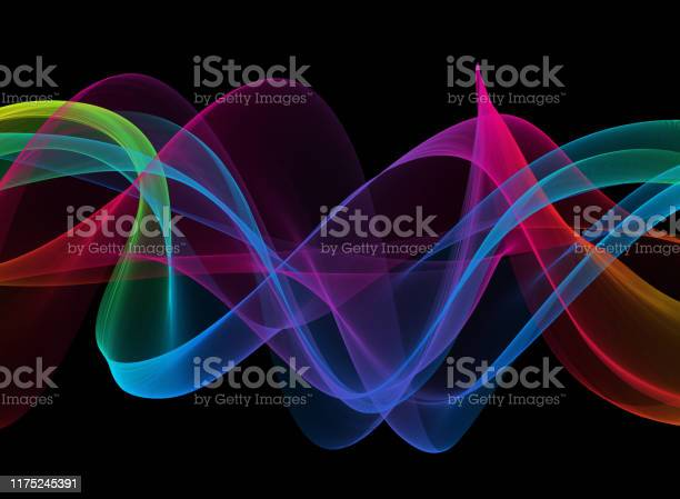 Photo of Colorful Neon Ribbon Wave Spiral Swirl Veil Silk Curve Wind Black Background Chaos Abstract Psychedelic Wavy Texture