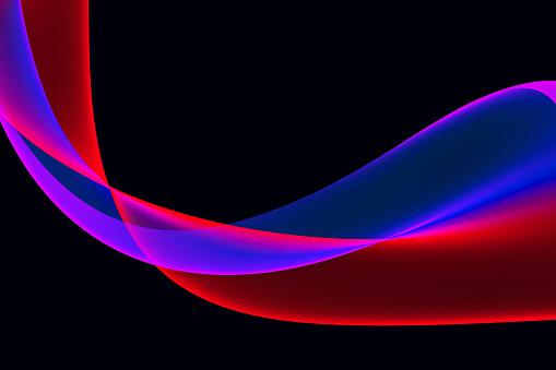 istock Colorful Neon Wave on Black background Abstract Bright Multi Colored Wavy Ribbon 1091818872