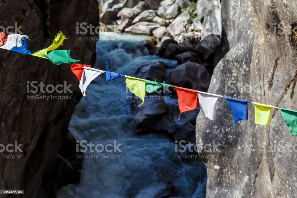 Colorful Nepalese flags stock photo