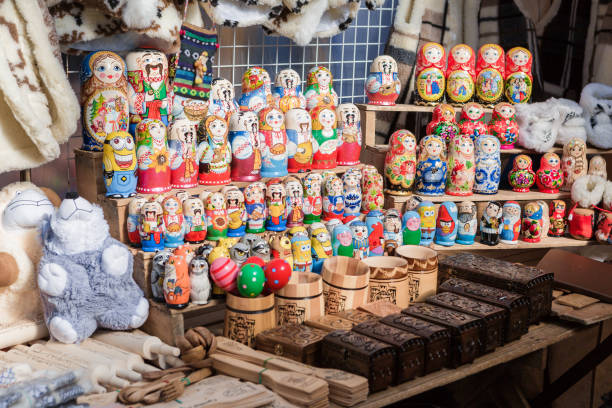 Colorful nesting dolls at the market stock photo
